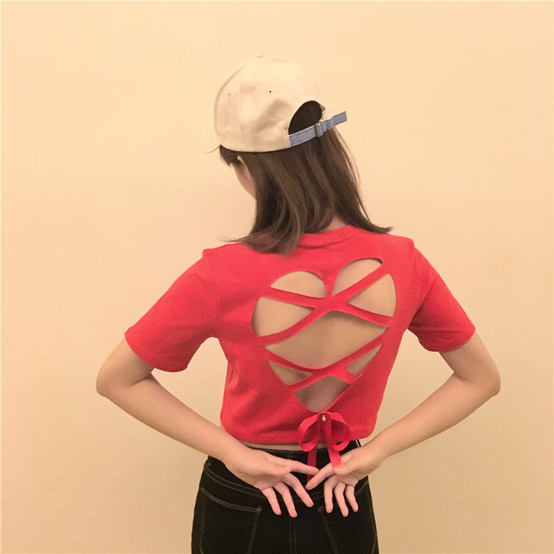 Hollow open back t-shirt YV555