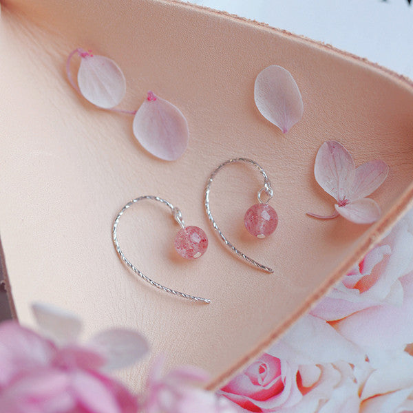 Sterling Silver Strawberry Crystal Earrings YV40287