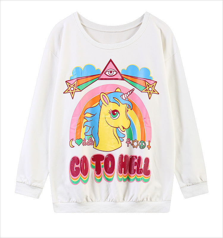 Cartoon Unicorn Unisex Tops YV40913