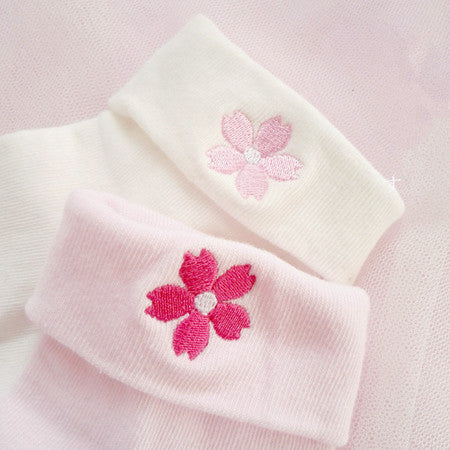 Lovely cherry blossom embroidered  3 pairs   socks YV5082