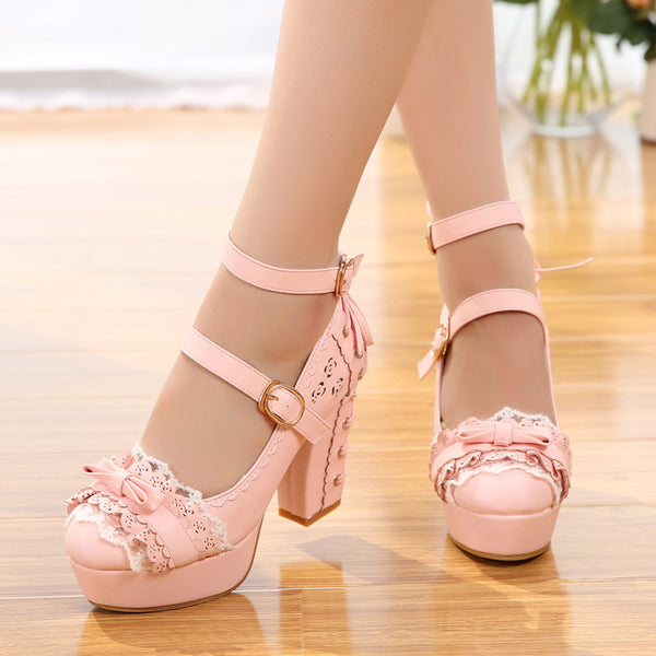 Lolita lace bow high heels yv42556