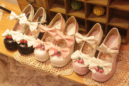 Japanese Lolita Strawberry Bells Bow Strap High-Heeled Shoes YV2148