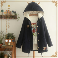 Cat embroidery plus vest hooded jacket YV2395