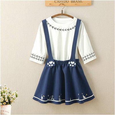 Cute cat embroidered strap dress YV467