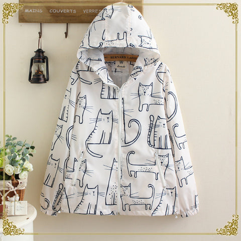 Cat graffiti loose short jacket female hooded coat YV279