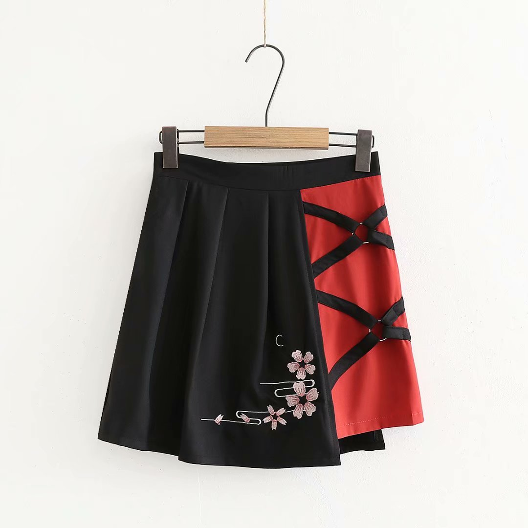 Cherry blossom embroidery t-shirt + skirt two-piece yv42220