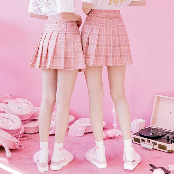 Pink grid pleated skirt  YV16018