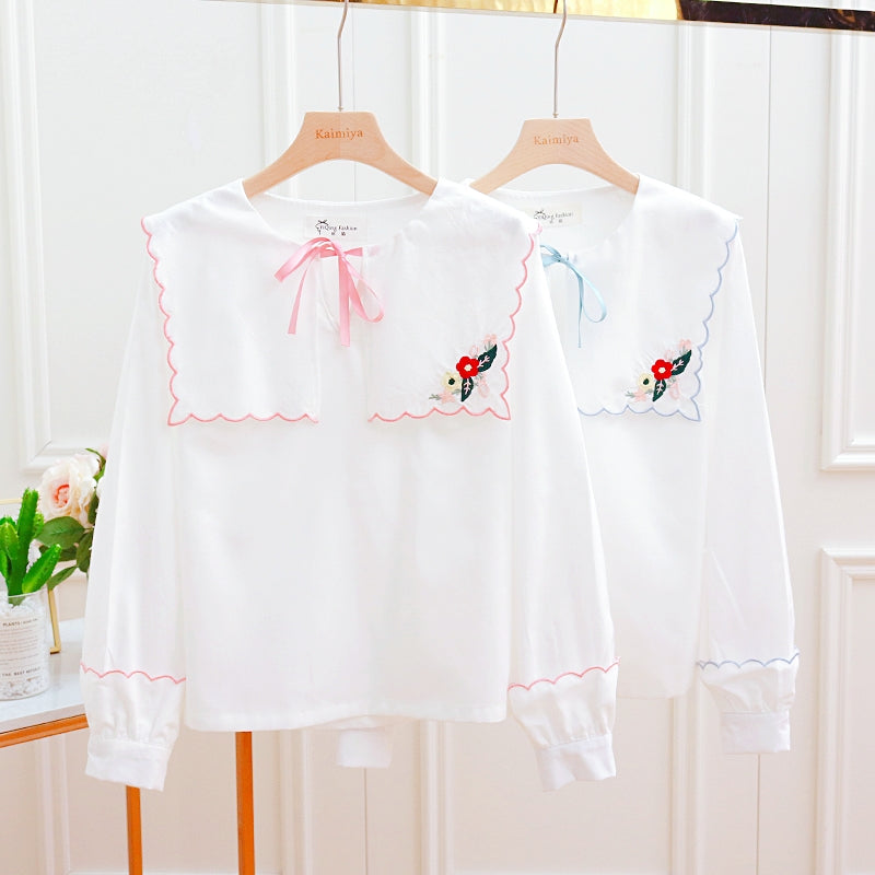 Cute bow embroidered long sleeve shirt yv40555