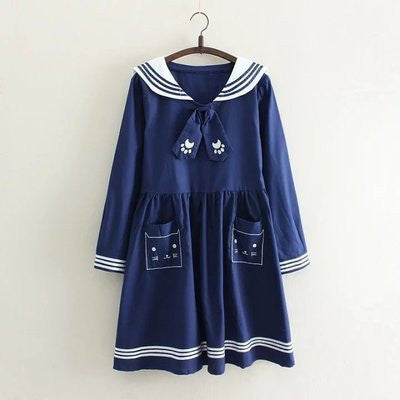 White/navy students dress  YV16027