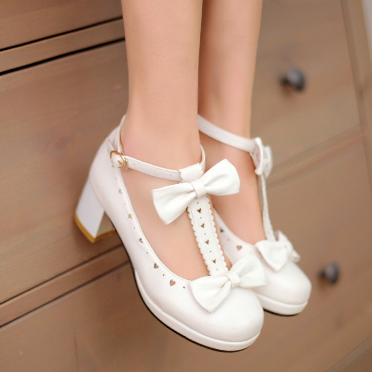 Japanese Bow Heart Strap Lolita Shoes YV2149
