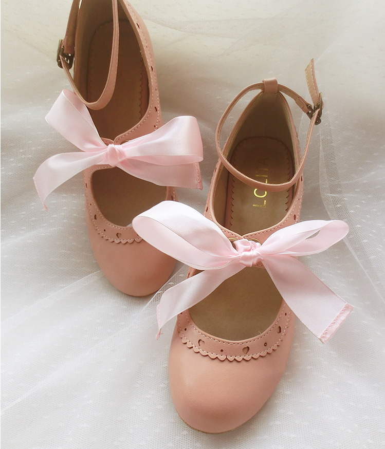 Kawaii Big Bow Low Heels Shoes YV2153