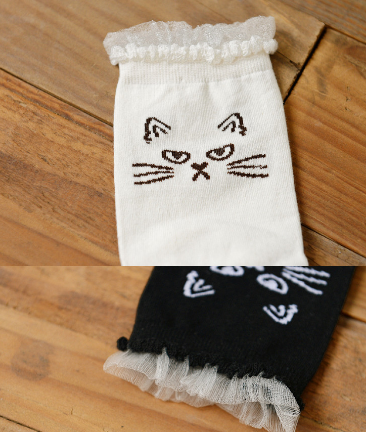 Cute cartoon lace female socks YV2184
