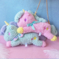 Cute binary star unicorn wool slanted straddling purse YV2288