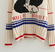 Retro big white rabbit pullover YV2293