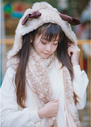 Japanese antlers blush hooded scarf gloves collar YV2305