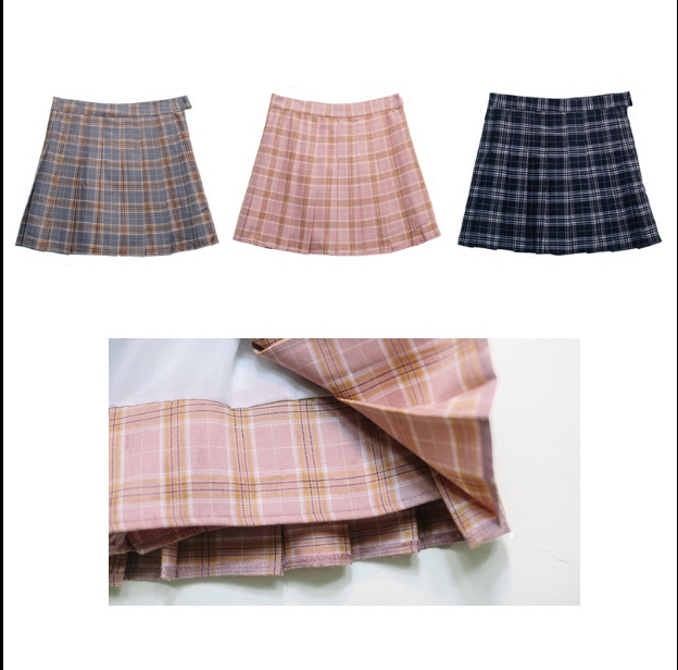 High-waisted plaid pleated skirt YV2319