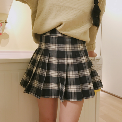 Harajuku high waist plaid pleated skirt YV486