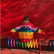 harajuku Rainbow stripe love embroidered sweater YV8099