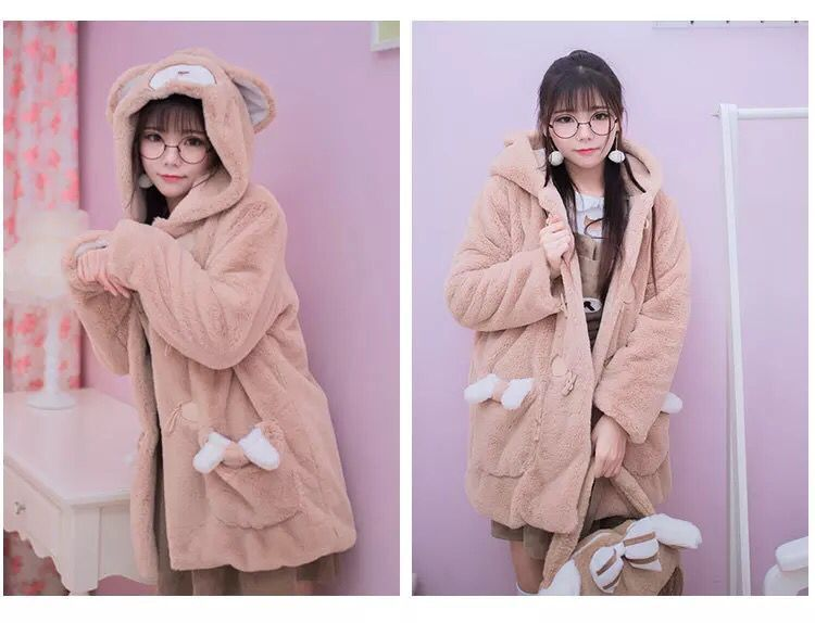 Kawaii Winter Bear Hooded Warm Coat YV8019
