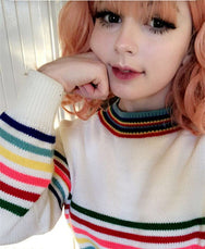 REVIEW FOR KOREAN RAINBOW STRIPED KINT SWEATER COLLEGE TRENDY PULLOVER YV5090