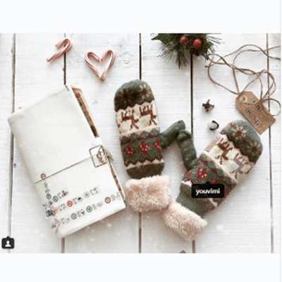 Review for cutekawaii christmas winter knitting gloves yv5132