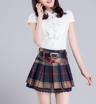 High waist lace pleated skirt yv2102