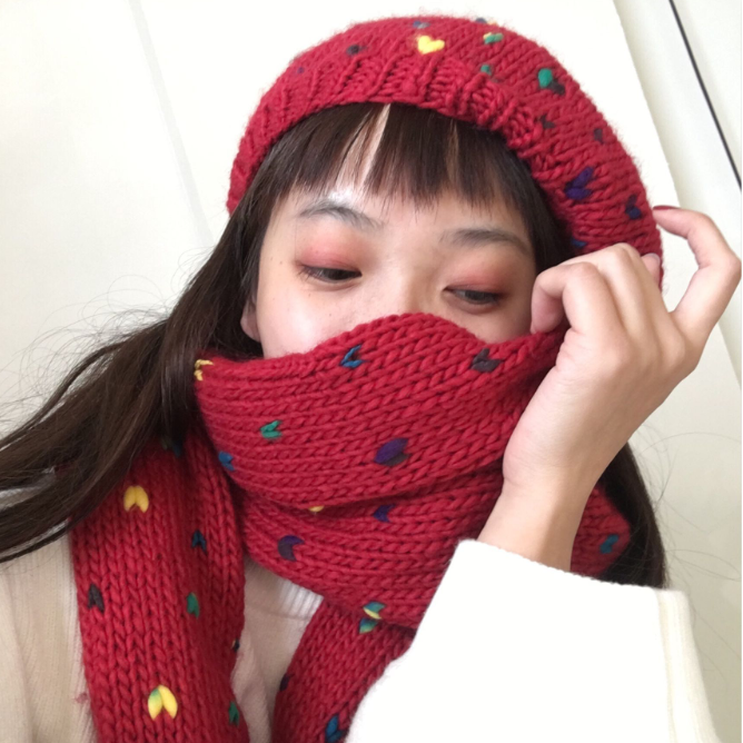 Japanese love hat scarf two-piece yv40722