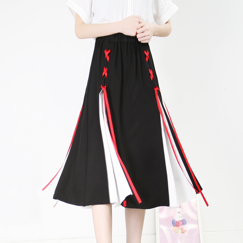 Vintage colorblock chiffon skirt YV40733
