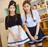 Lovely students navy skirt YV16098