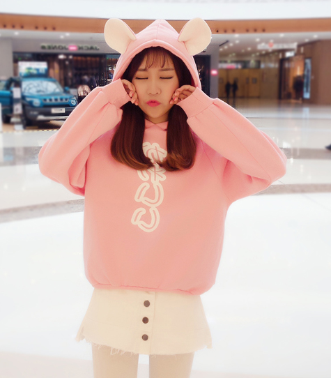 Cute kawaii cartoon ear hoodie fleece  YV17513