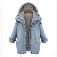 Fashion students denim hooded fleece coat two-piece YV16097