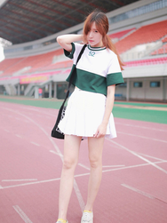 Lovely baseball T-shirt + pleated skirt two-piece outfit YV1205