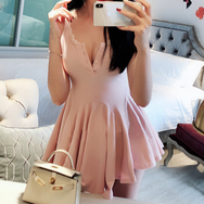 Fashion V-neck One-piece Jumper Skirt YV40145