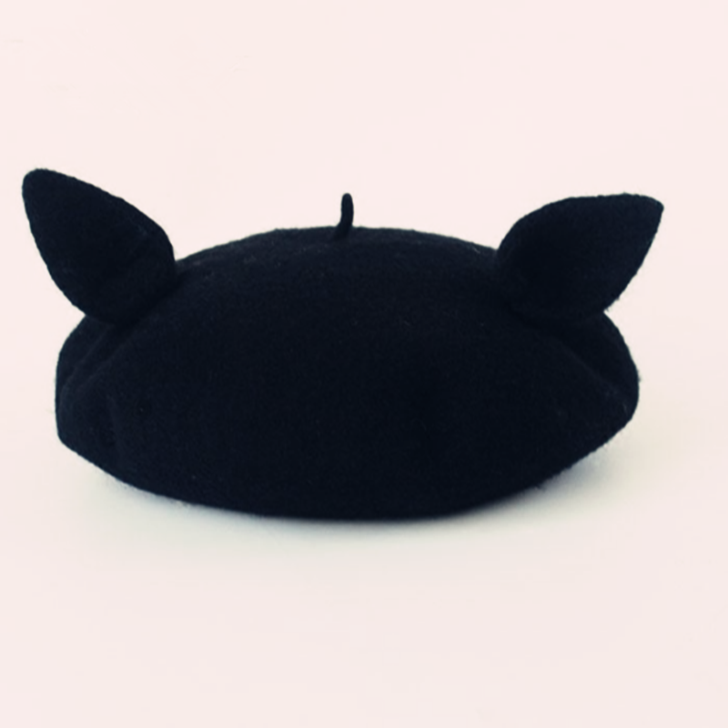 Lovely black cat ear piercing beret YV2349