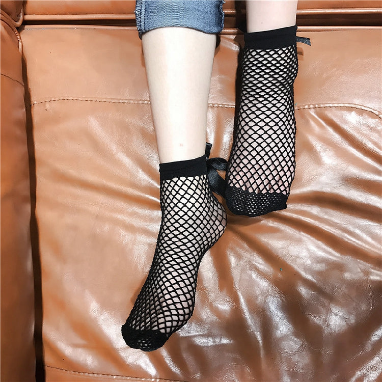 Black Fishnet ribbon socks 2 pairs set  YV7027