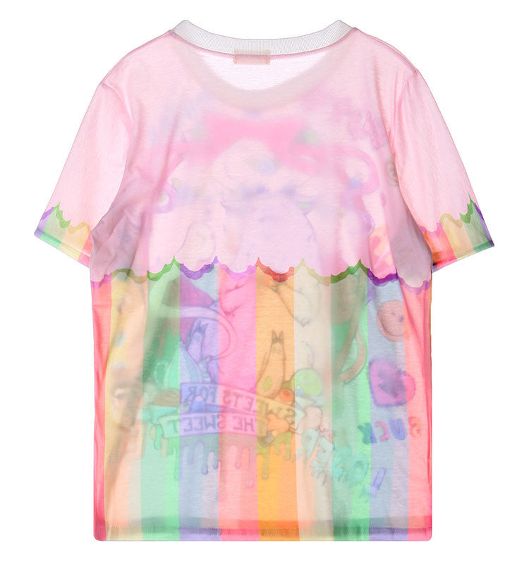 Monster print fairy kei style pink loose T-shirt YV2181