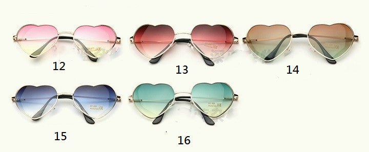 Gradient Marine transparent heart-shaped love form the sun glasses YV166