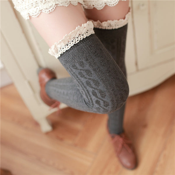Crochet lace thigh high stockings YV7026