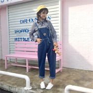 Cute Heart embroidery overall jeans YV2417