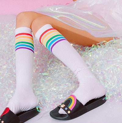 RAINBOW STRIPE LONG SOCKS YV2401