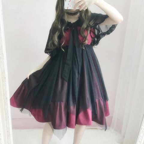 BlackRed Ragged Lolita Tulle Suspender Dress YV17001