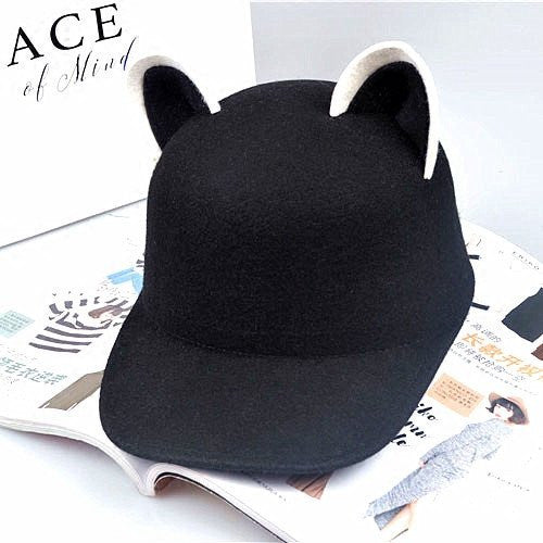 Black Kawaii Cat Ear Cap YV1174