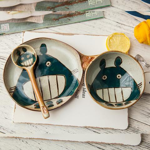 Kawaii Totoro Anime Bowl Dish Cup Spoon Set YV1172