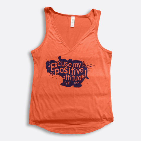Excuse My Positive Attitude V-Neck Tank