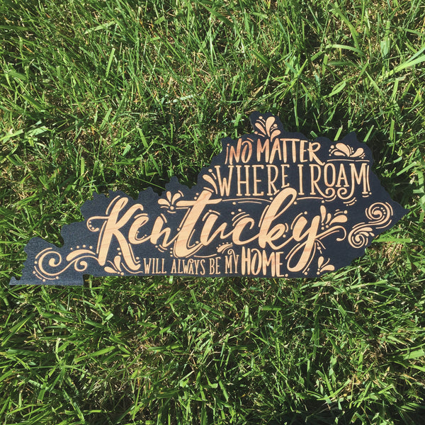 Black Kentucky Wooden Sign