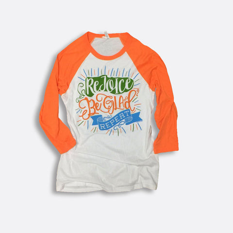 Rejoice • Be Glad • Repeat 3/4-Sleeve Baseball T-Shirt