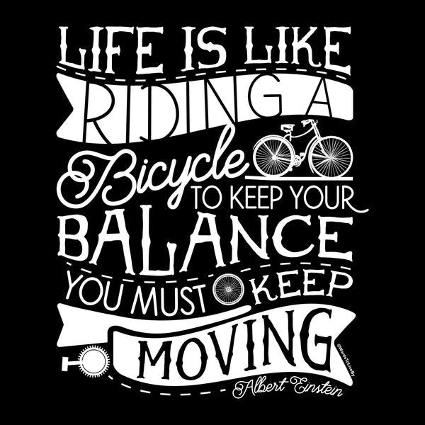 Life is like Riding a Bike Long Sleeve Graphic Tees Close Up
