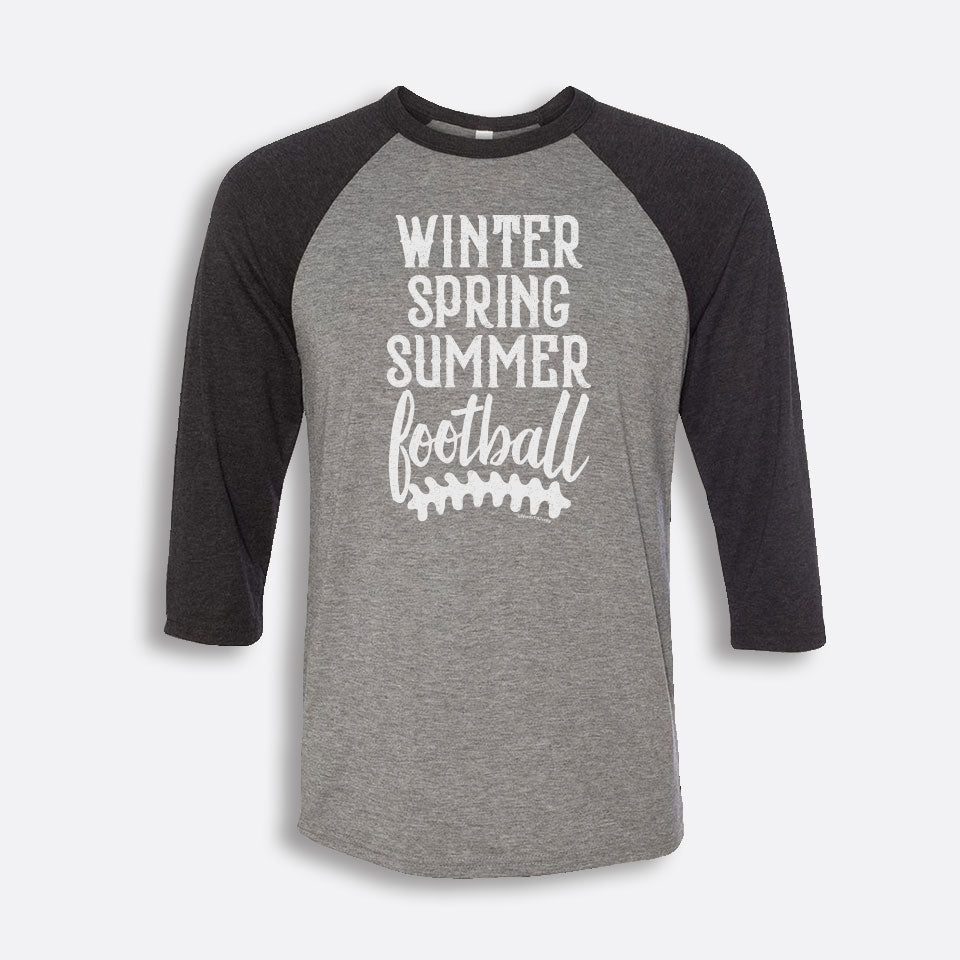 Winter Spring Summer Football 3/4-Sleeve Baseball T-Shirt