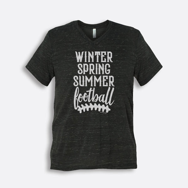 Winter Spring Summer Football Short-Sleeve V-Neck T-Shirt