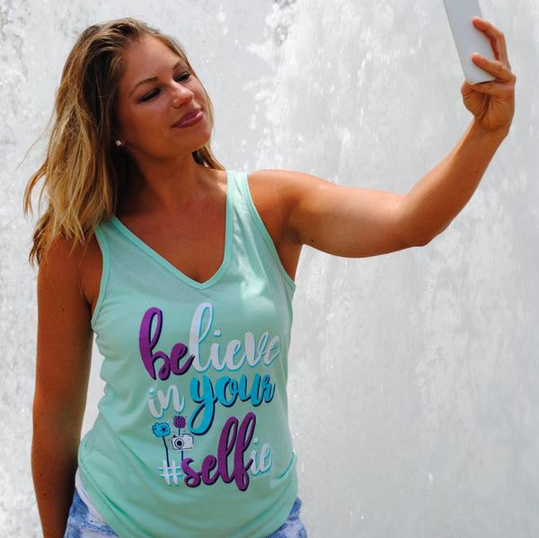 Believe In Your Selfie V-Neck Tank